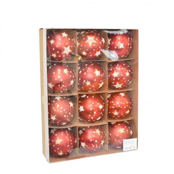 Новогодние красные шары (с рисунком), диаметр 8 см, 12 шт.