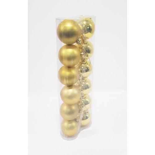 Шары новогодние, диаметр 6 см, двойная туба из 12 шт,матовые и глянец, цвет золотой, пластик