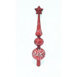 Верхушка на ёлку фигурная с росписью, 29 см, пластик, цвет красный