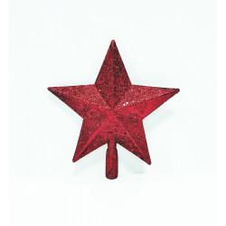 Звезда на ёлку 20 см, пластик, цвет красный