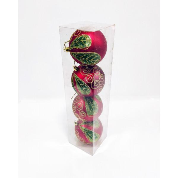 Шары новогодние, диаметр 10 см, упаковка из 4 шт, пластик, красные с зеленым рисунком