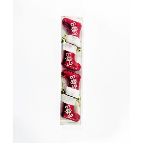 Елочное украшение Сапожок 4 штуки, красные