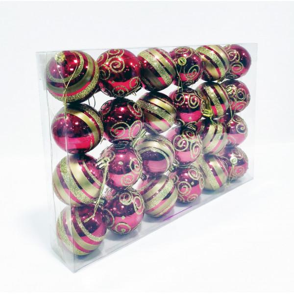 Шары новогодние, диаметр 5 см, коробка из 24 шт, цвет красный с позолотой, пластик