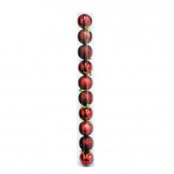 Новогодние красные Шары (туба), диаметр 6 см, 10 шт.