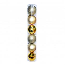 Елочные золотые Шары (туба), диаметр 8 см, 6 шт.