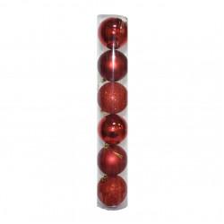 Елочные красные Шары (туба), диаметр 8 см, 6 шт.